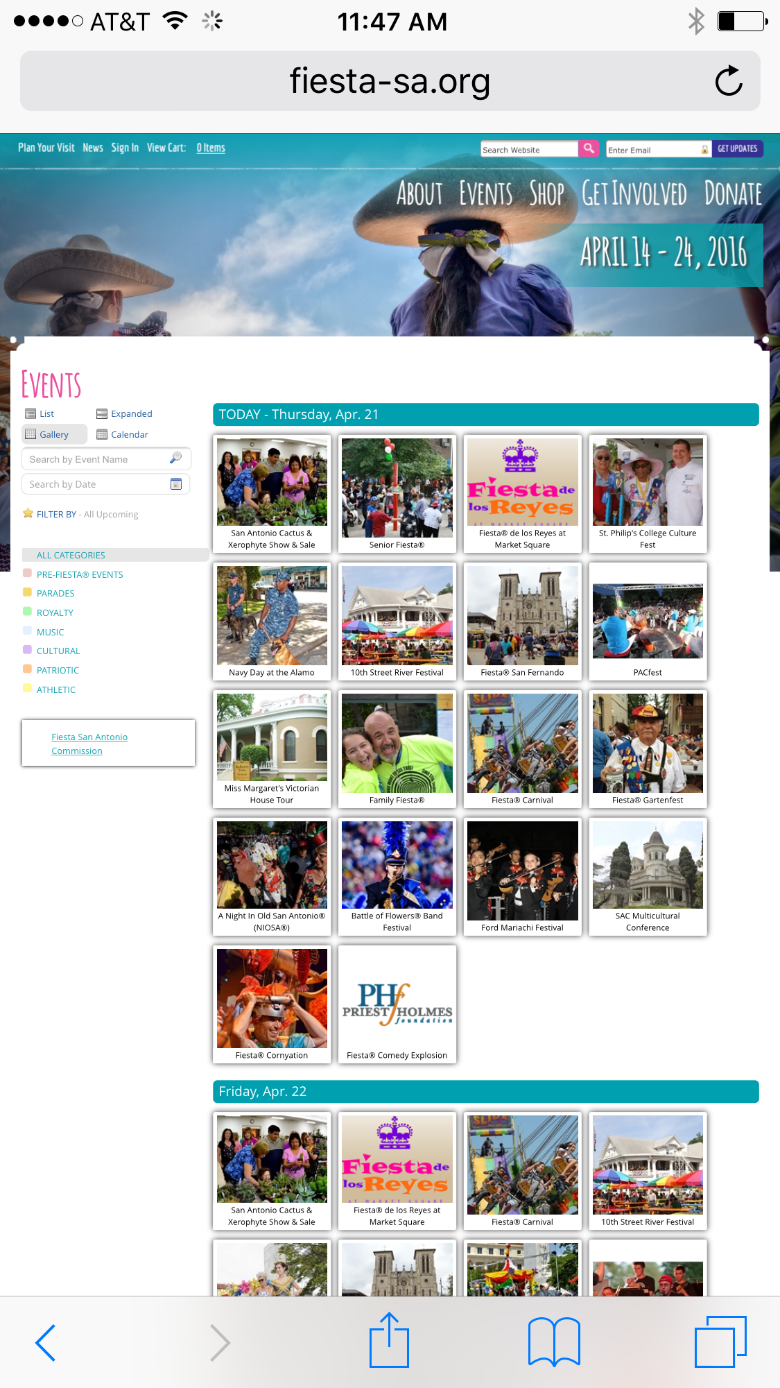 Fiesta Webpage Screenshot